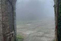 La brume à travers le porche
